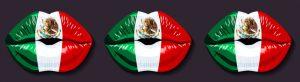 Labios con la bandera de México pintada