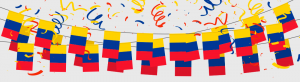 Banderas de Colombia y confetti